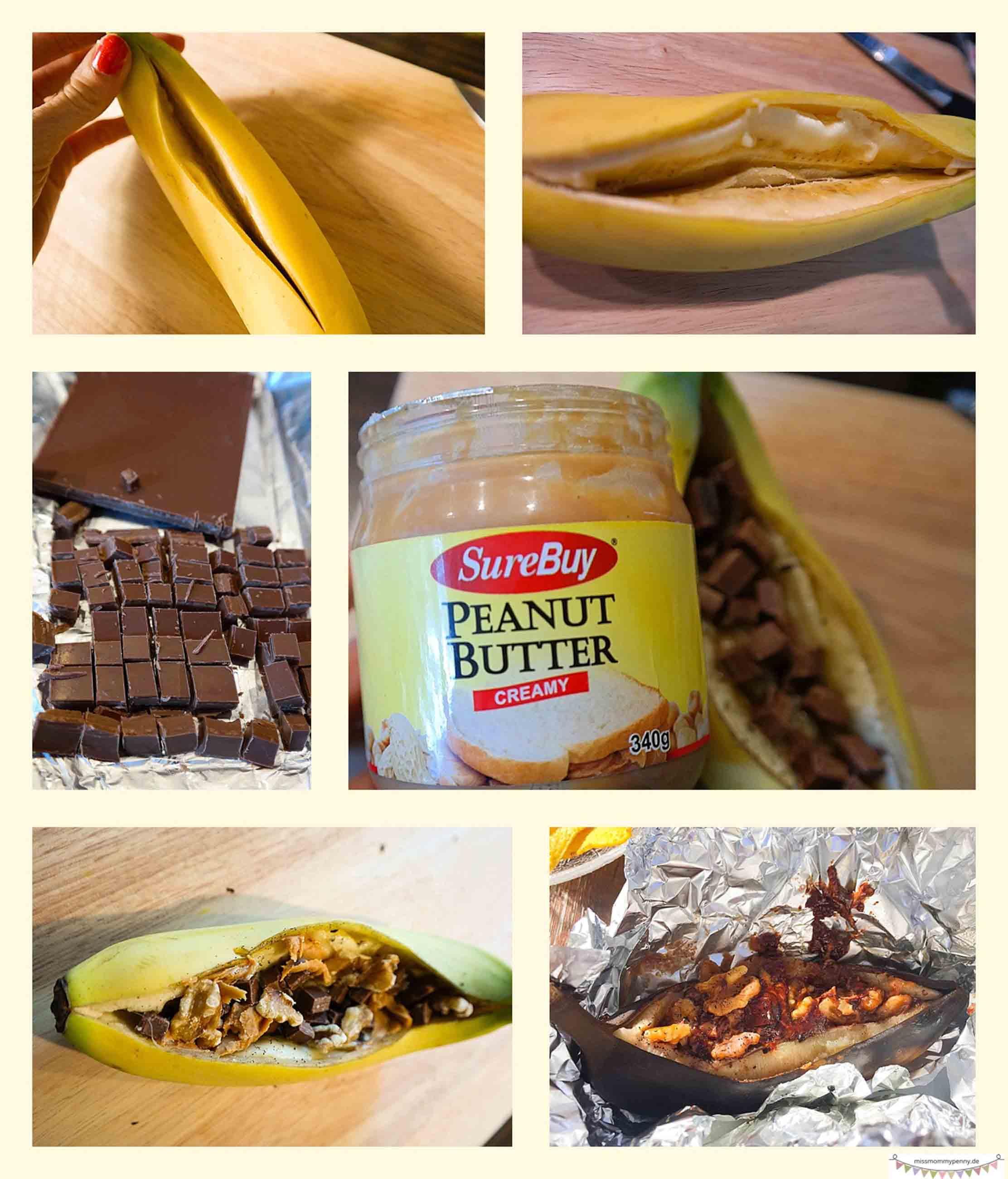 gegrillte gefüllte Bananen