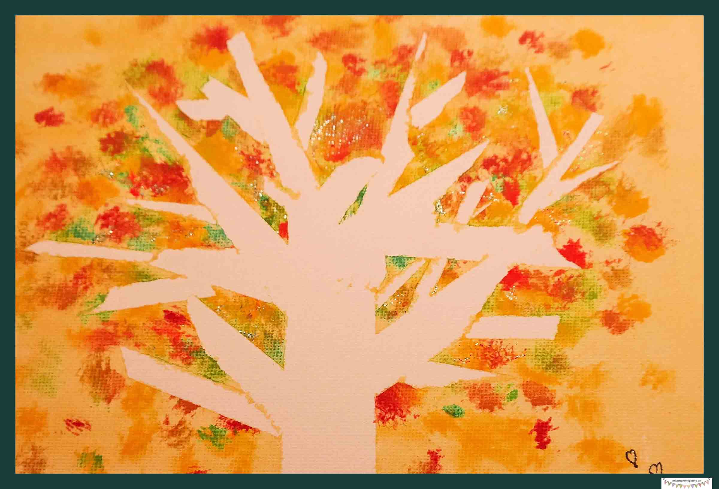 Herbstbild tuschen