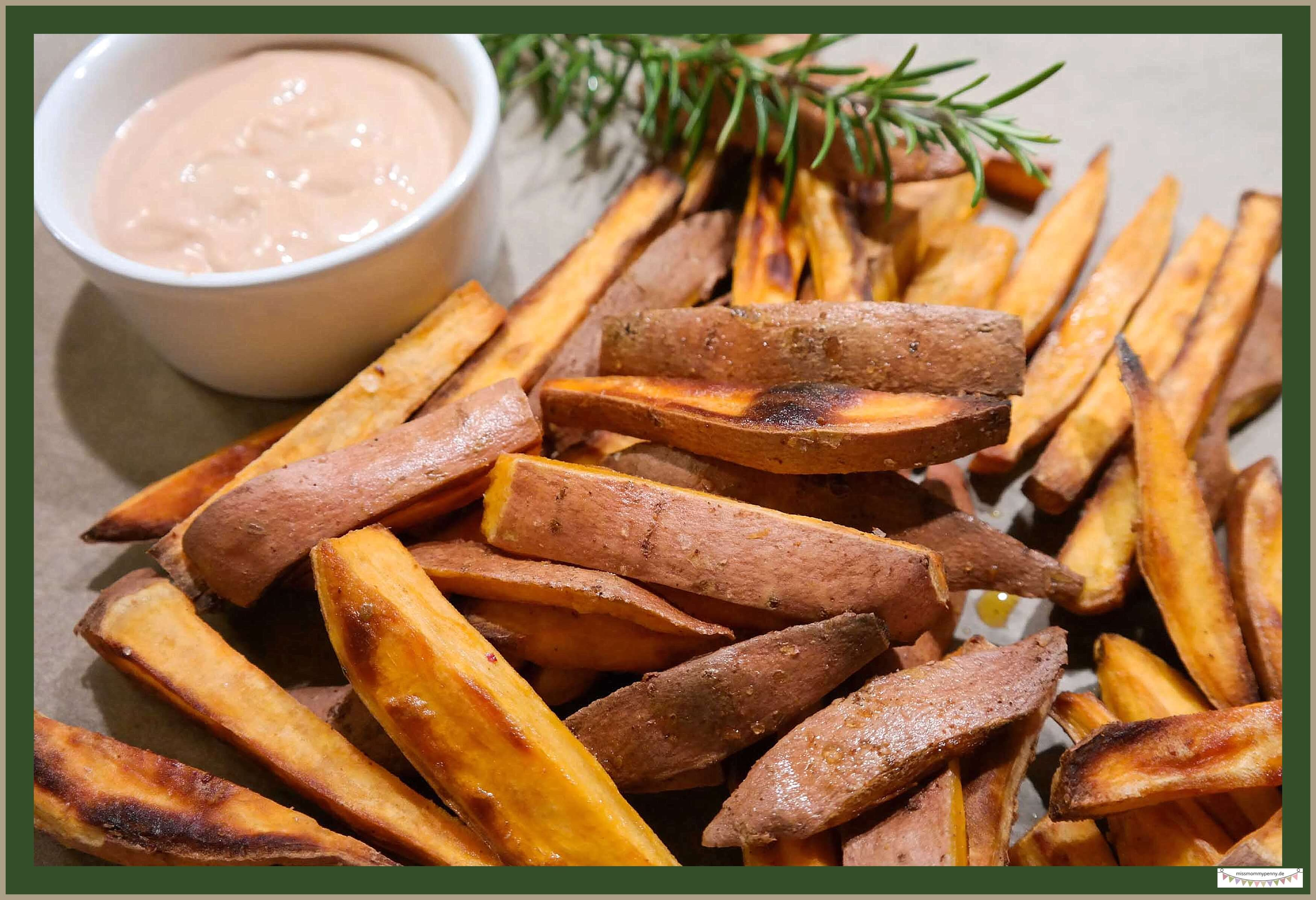 Hausgemachte Süßkartoffelpommes mit Spezialsauce Deluxe - missmommypenny