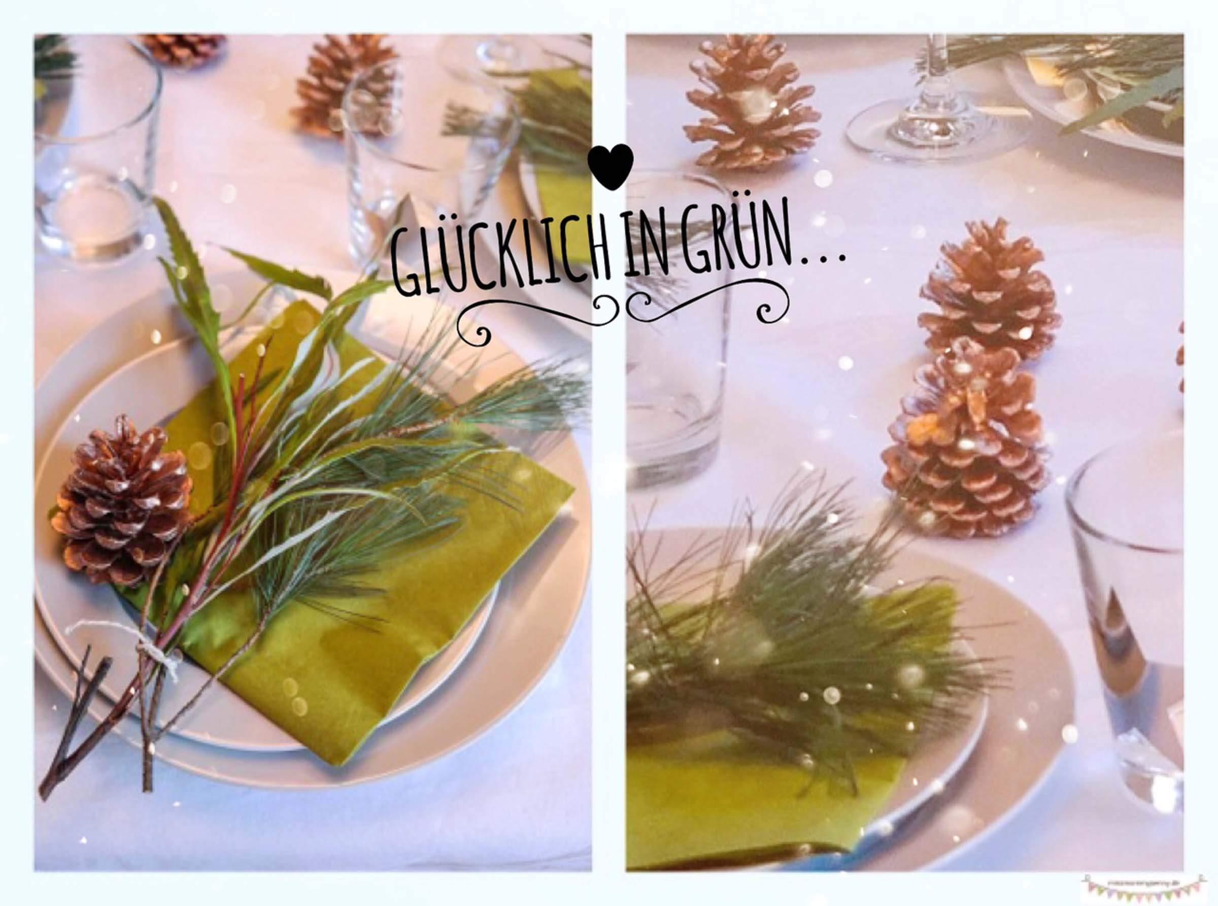 Tischdekoration mit Naturelementen