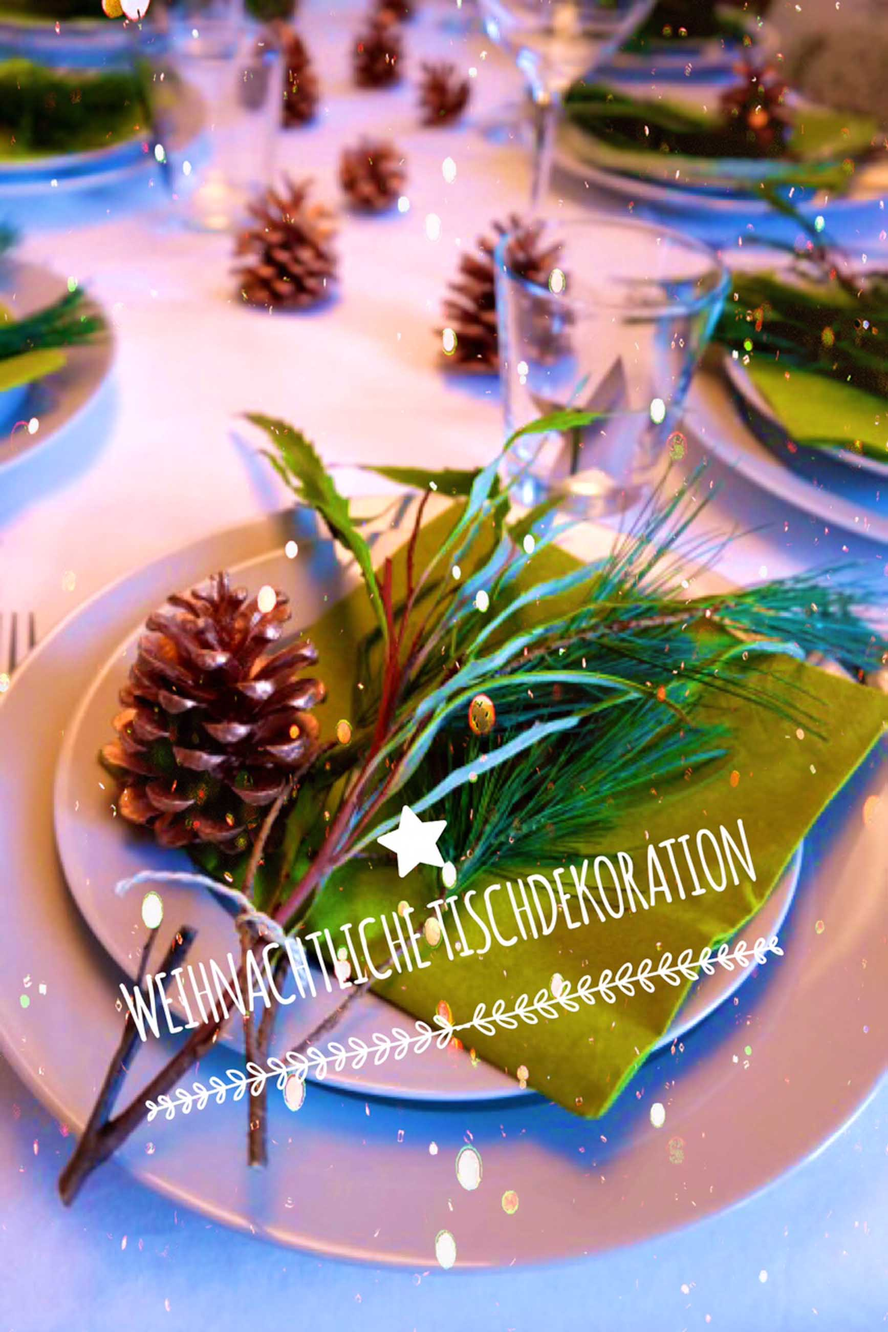 Tischdekoration in grün