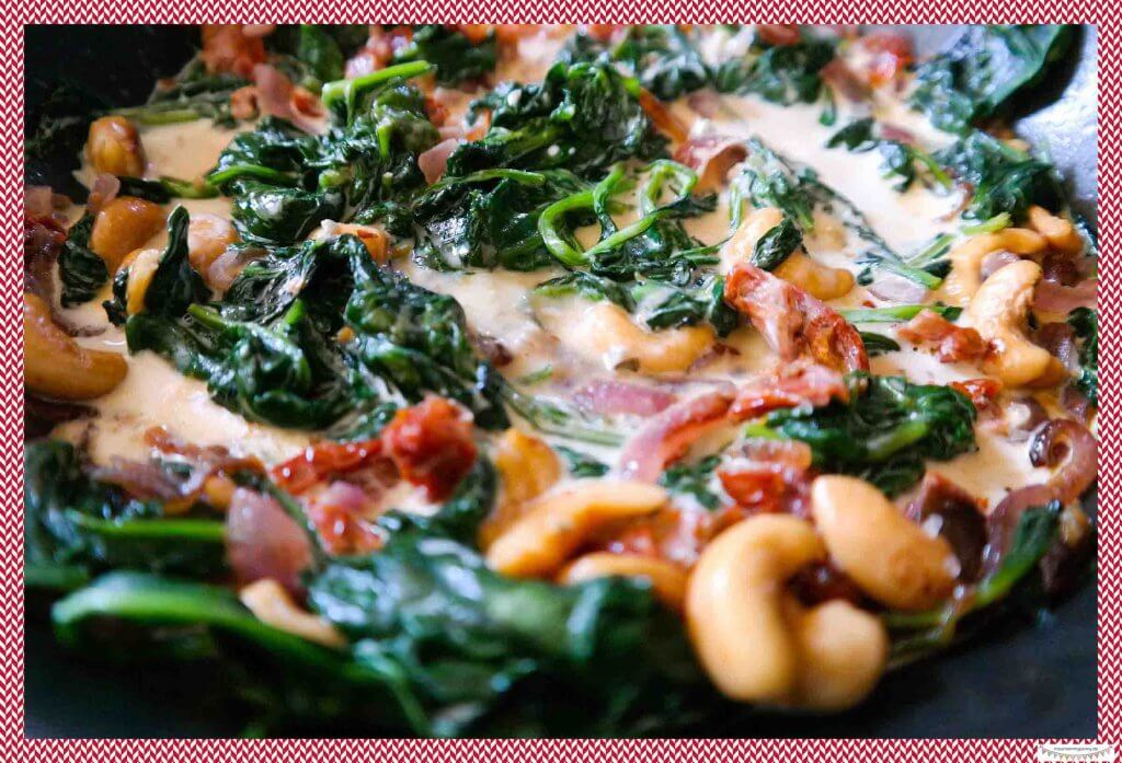 Glutenfrei Spinat mit Gorgonzola und Cashewnüssen