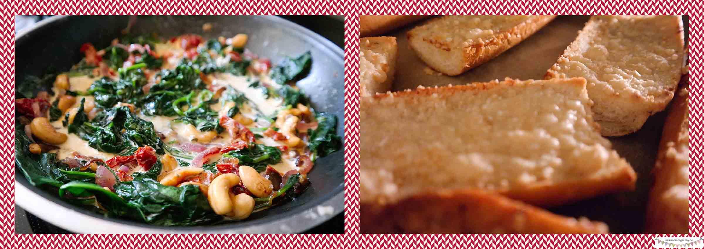 Gorgonzolaspinat mit Parmesanbroten