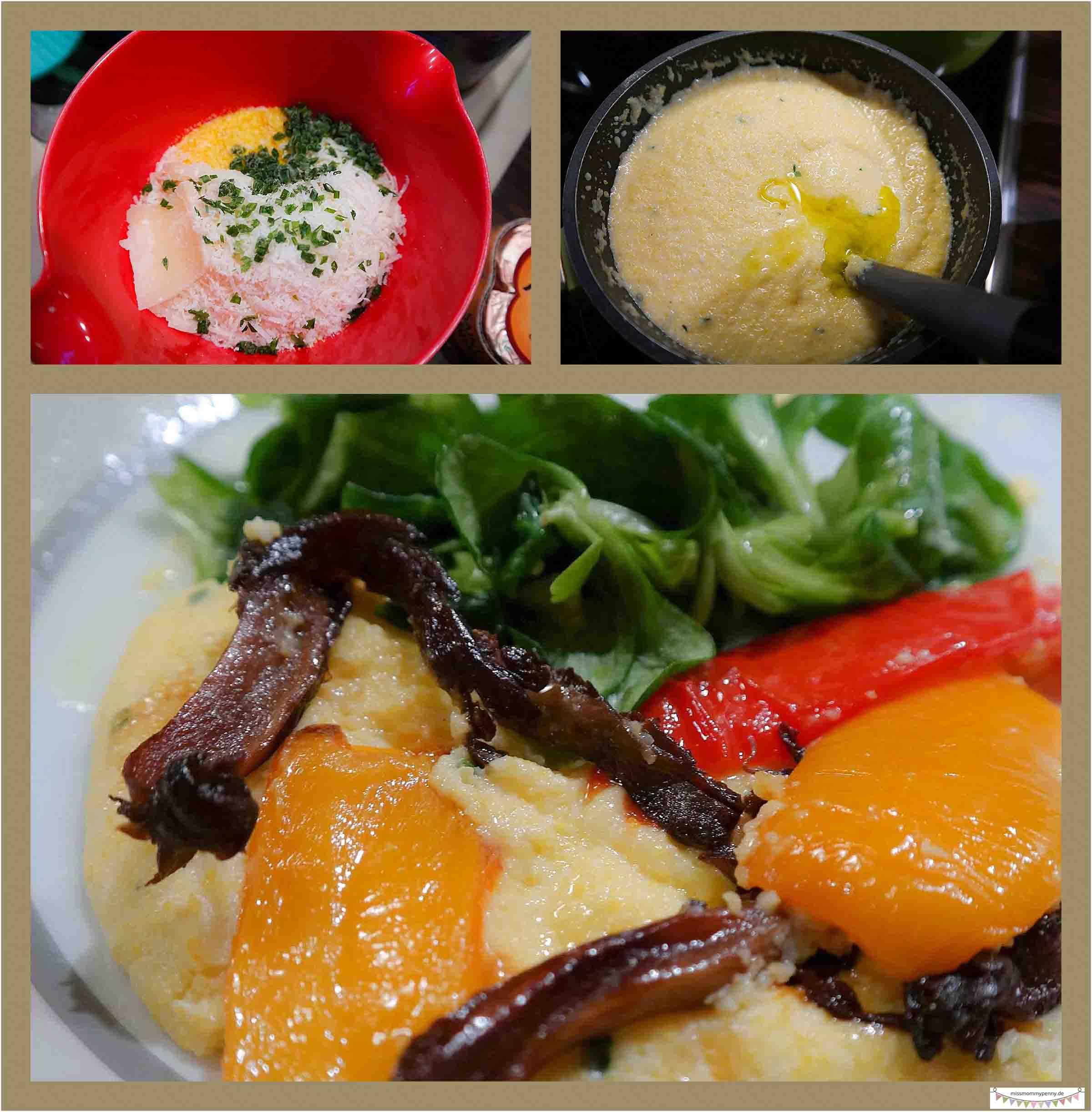 vegetarische Polenta mit Antipasti und Austernpilzen