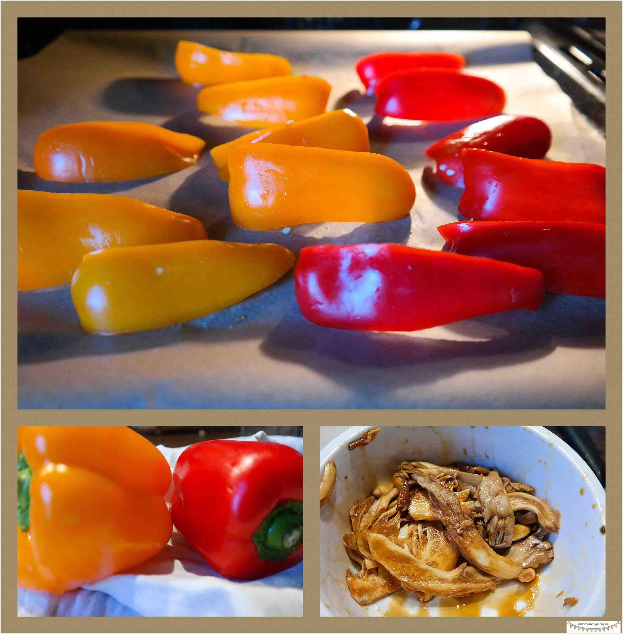 Paprika und Austernpilze marinieren
